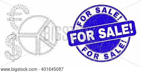 Web Mesh Currency Pie Chart Icon And For Sale Exclamation Seal Stamp. Blue Vector Round Grunge Seal