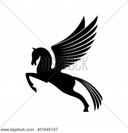 Mythical Pegasus Isolated Winged Horse. Vector Heraldic Animal, Heraldry Emblem, Flying Stallion