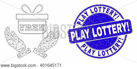 Web Mesh Hands Give Gift Icon And Play Lottery Exclamation Seal Stamp. Blue Vector Round Grunge Seal