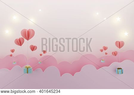 Balloon Heart With Gift Box For Love Valentines Concept, Copy Space For Text Advertisement, 3d Illus
