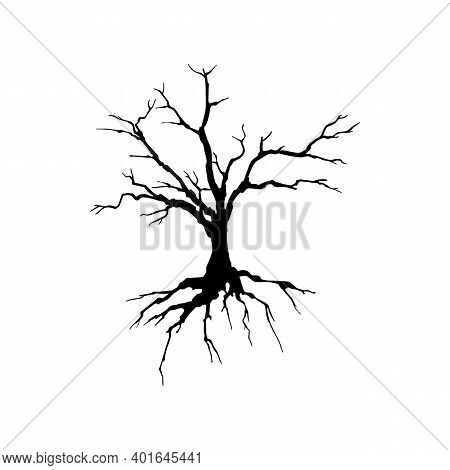 Creepy Dead Tree Silhouette Vector Illustration. Autumn, Winter Season, Nature Death Hand Drawn Mono
