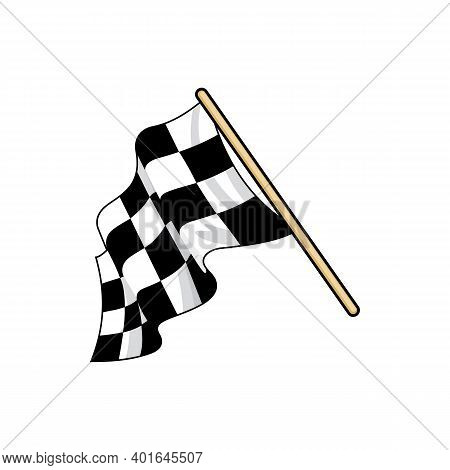 Checkered Race Flag Flat Vector Illustration. Speed Racing Competition Flag Cartoon Sticker. Motocro