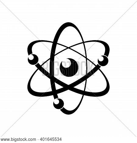 Atomic Energy Symbol Black Vector Icon. Chemical Reaction Sign. Electrons Moving On Orbits Minimal I