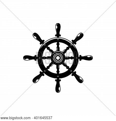 Ship Steering Wheel With Anchors Contour Vector Illustration. Sailing, Maritime Linear Black Symbol.