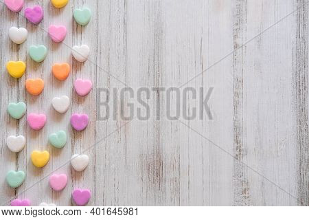 Flat Lay Candy Hearts Pattern - Pastel Rainbow Conversation Heart Candy Design For Valentine\'s Day.