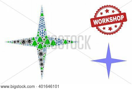 Winter Viral Collage Space Star, And Distress Workshop Red Rosette Stamp. Collage Space Star Is Made