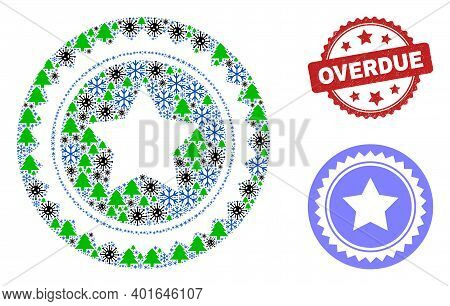 Winter Pandemic Collage Star Seal Stamp, And Textured Overdue Red Rosette Stamp. Mosaic Star Seal St