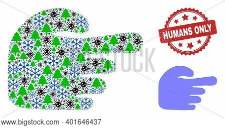 Winter Pandemic Mosaic Index Finger, And Scratched Humans Only Red Rosette Stamp Seal. Mosaic Index