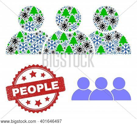 Winter Pandemic Collage People, And Scratched People Red Rosette Stamp Imitation. Collage People Is