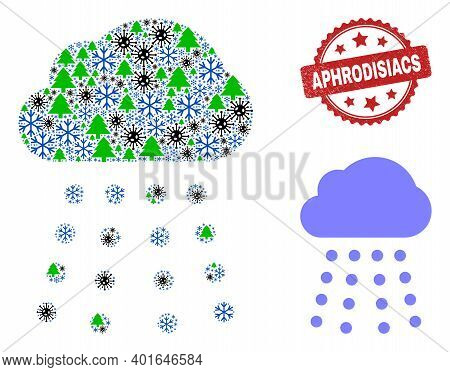 Winter Pandemic Collage Rain Cloud, And Distress Aphrodisiacs Red Rosette Stamp Print. Collage Rain