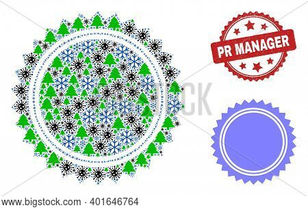 Winter Viral Collage Seal Stamp Template, And Dirty Pr Manager Red Rosette Stamp. Collage Seal Stamp