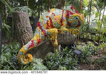 Singapore - Dec 31, 20120:colorful Camelean Sculpture Located In Topiary Walk At Jewel Changi Airpor