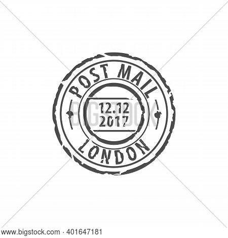 Ink Postmark Vector Isolated Icon. London Round Post Stamp, Mark Of United Kingdom