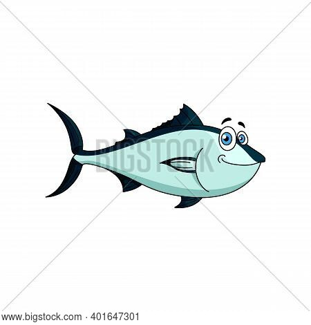 Atlantic Bluefin Tuna Isolated Cartoon Fish. Vector Aquatic Mackerel With Silvery Blue Scales