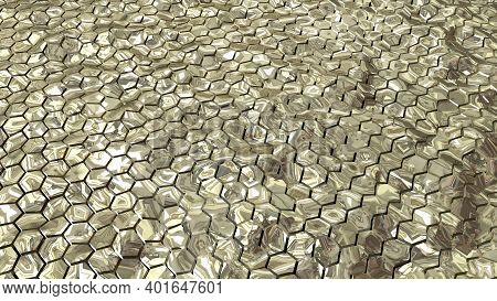 Abstract Golden Hexagonal Geometry Patterns With Six Sided Polygon And With Smooth Wavy Motion Effec