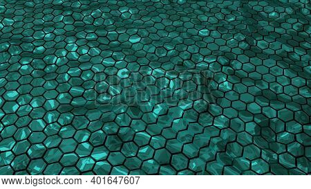 Abstract Green Shiny Hexagonal Geometry Patterns With Six Sided Polygon And With Smooth Wavy Motion