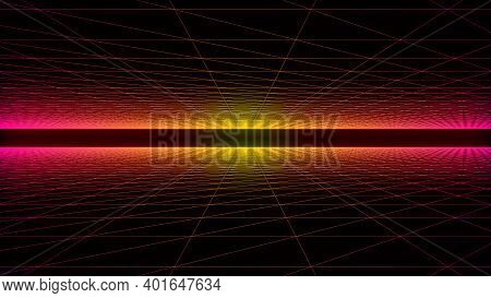 Abstract 3d Digital And Futuristic Wireframe Grid Motion With Illuminating Lights ,digital Landscape