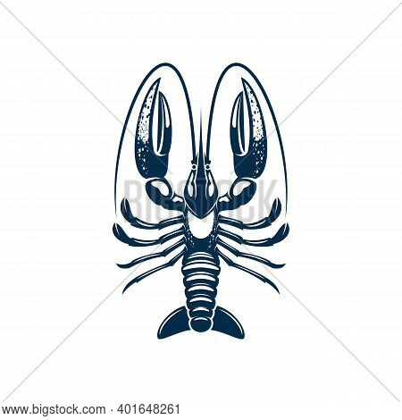 Lobster Seafood Animal Isolated Crustacean With Big Claws. Vector Blue Shellfish With Pincers, Edibl