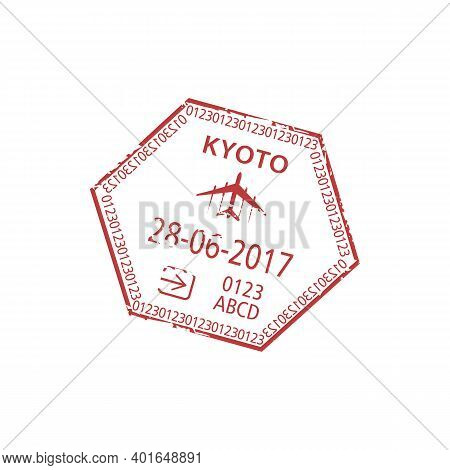 Kyoto Prefecture In Japan Arrival Visa Stamp Template. Vector Immigration Office Control Sign Isolat