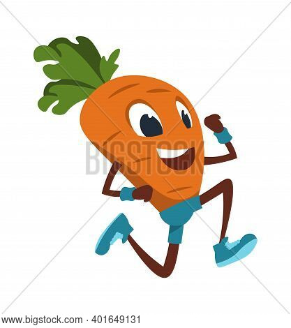 Cartoon Carrot. Funny Vegetable Doing Fitness Exercises And Jogging. Running Cute Mascot. Outdoor Sp