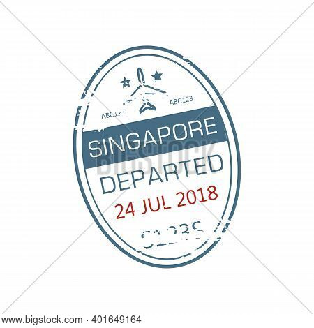 Singapore Departed Oval Visa Stamp Isolated Grunge Icon With Airplane And Date. Vector Departure Fro