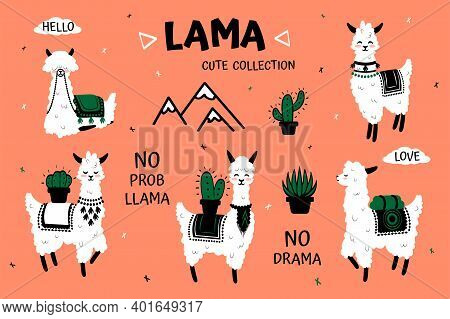 Cartoon Lama. Cute White Alpaca And Cactus Clipart For Kids Birthday Greeting Cards And Festive Acce