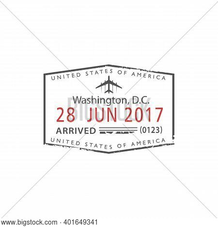 Washington D. C. Airport Visa Stamp In Passport Isolated. Vector Us Border Control, Arrived Sign