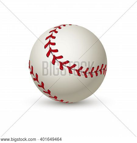 Realistic Baseball Ball. Leather 3d White Softball. Curved Shot With Red. Isolated Professional Equi