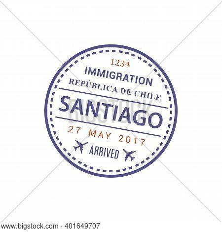 Arrival Visa To Immigration Republica De Chile, Santiago International Airport, Vector Stamp Icon Is