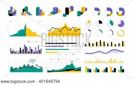 Data Infographic. Statistic Round Charts. Graphic Progress Bars And Diagrams. Colorful Business Pres