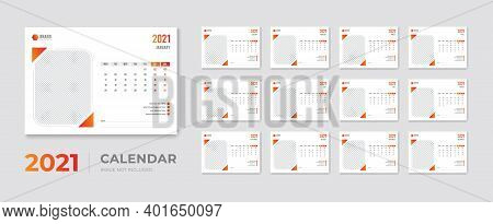 Creative Modern Desk Calendar 2021 Design Template Vector