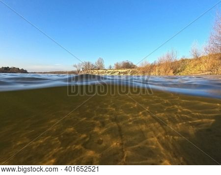 Desna River. Natural underwater landscape in Kiev Region at winter