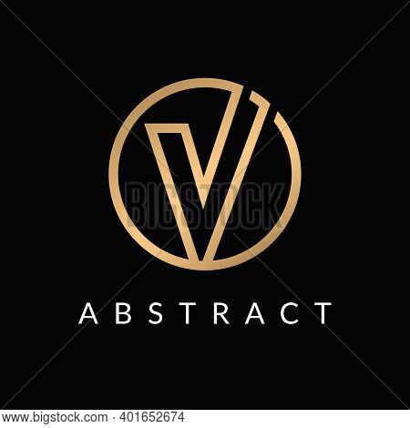 V Initial Letter Logo Circle Shape Element Golden Color Design.