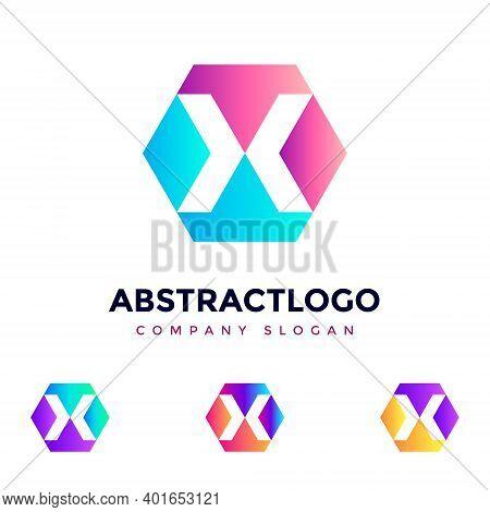 x Letter Logo Design Vector, Emblem, Creative Symbol Icon Design. Colorful Abstract Logo Template F