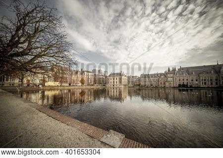 The Hague, The Netherlands - November 10, 2020: An Almost Abandoned Park By The Courtyard, Empty Par