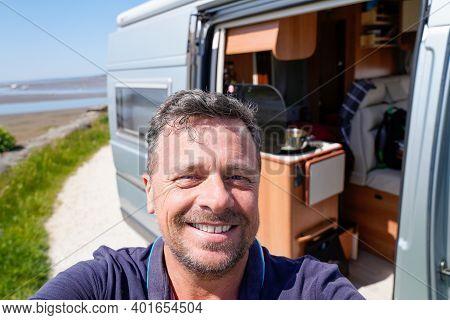 Bordeaux , Aquitaine  France - 12 28 2020 : Man Happy Vanlifer Smiling Front Of Fiat Motor Home Camp