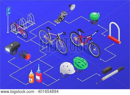 Bicycle Isometric Composition With Isolated Icons Of Bikes Spare Parts And Parking Rack Combined In