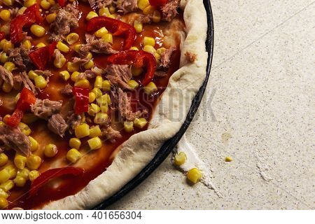 Details Of Pizza With Fish And Paprika, Baked, Closeup View.