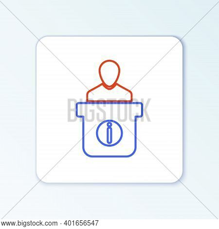 Line Information Desk Icon Isolated On White Background. Man Silhouette Standing At Information Desk