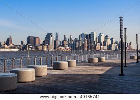 New York-Manhattan Skyline-Blick aus Hoboken waterfront