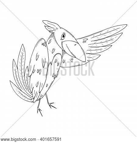 Crow Icon. Vector Cartoon Crow. Bird Hand Drawn.