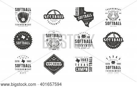 Badges Set Of Softball Tournament With A Picture Of Tiger And Silhouette Of The State Of Texas. Grap