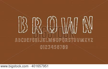 Stencil-plate Hollow Sans Serif Font In The Style Of Handmade Graphic. Letters And Numbers With Roug