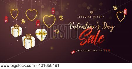 Valentines Day Sale. Horizontal Banner, Flyer, Poster, With Realistic Design Elements, Gift Box, Met