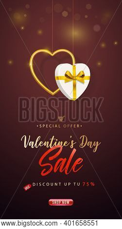 Valentines Day Sale. Vertical Banner, Flyer, Poster. Promotion And Shopping Template Or Background F