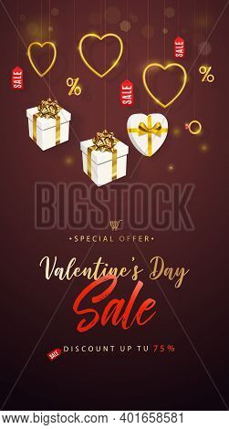 Valentines Day Sale Banner, Flyer, Poster, Cover. Promotion And Shopping Template Or Background For
