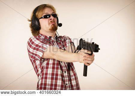 Gamer Man Shooting From Gun