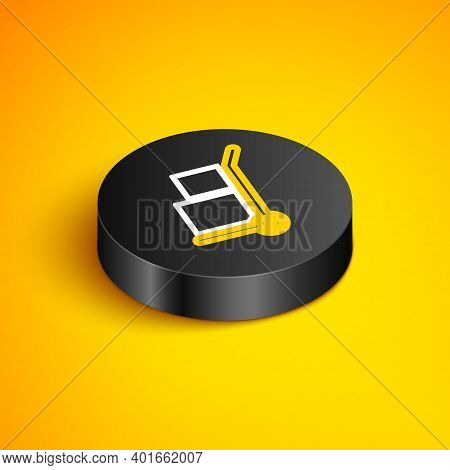 Isometric Line Hand Truck And Boxes Icon Isolated On Yellow Background. Dolly Symbol. Black Circle B