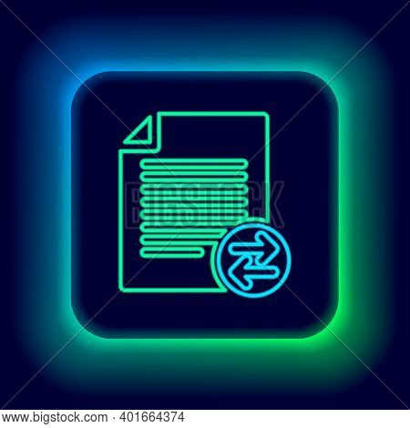 Glowing Neon Line Transfer Files Icon Isolated On Black Background. Copy Files, Data Exchange, Backu