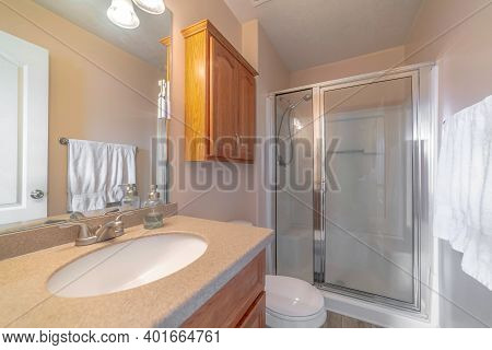 Home Bathroom Interior With Vanity Unit Toilet And Shower Stall With Glass Door
